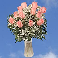 18 Fresh Cut Flowers Valentine's Day Bouquet with Vase | Pink Heaven Bouquet | Fresh Flowers Wholesale Express Delivery | Perfect for Birthdays, Anniversary or any occasion.