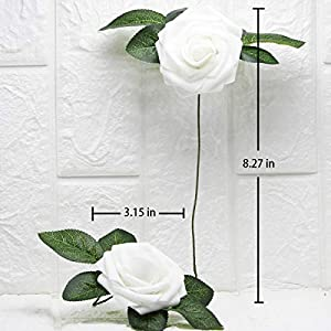 Artificial Flowers Real Touch Fake Latex Rose Flowers Home Decorations DIY for Bridal Wedding Bouquet Birthday Party Garden Floral Decor - 25 PCs 5