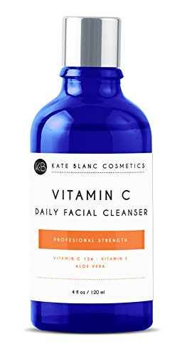 Vitamin C Daily Facial Cleanser 4oz by Kate Blanc. Restorative Anti-Aging Face Wash for All Skin Types. Reduce Breakouts, Clogged Pores, Acne, Wrinkles. Brighten Skin, 15% Vitamin C, Aloe, Rosehip Oil