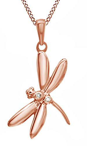 Jewel Zone US Natural Diamond Accent Dragonfly Pendant Necklace in 14K Rose Gold Over Sterling Silver