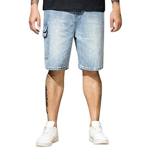 LiLiMeng 2019 New Men Summer Jeans Shorts Skate Board Harem Fashion Elastic Waist Loose Pocket Jean Plus Size Blue