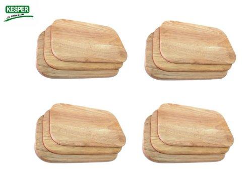 12 Stück Frühstücksbrett Frühstücksbrettchen Holz hell Gummibaum Essbrett Kesper # 64003