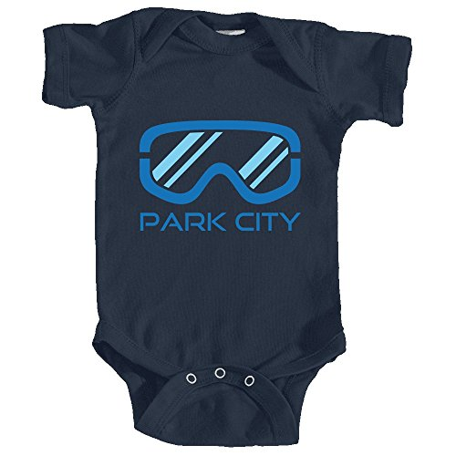 Price comparison product image Park City,  Utah Snowboard & Snow Ski Goggles - Unisex Infant Baby Onesie / Bodysuit (6MOS,  Navy Blue)