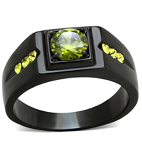 Mens 1 Ct Olivine Green Cubic Zirconia Stainless Steel Black Ion Plated Ring