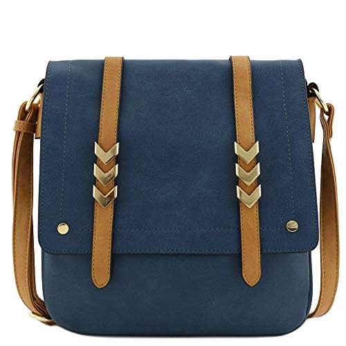 Double Compartment Large Flapover Crossbody Bag with Colorblock Straps Navy/Light Tan (Best Faux Leather Handbags)