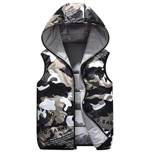 Lannister Camouflage Vest Grau Paternity Fit Vest Men's Slim Jackets Outerwear Coat Fashion Down Hooded Hooded Coat Men's Overcoat 0rxTq0wv