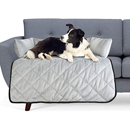 Cat & Dog Bed Couch Cover - for Sofas, Chairs or Beds - Multi Purpose Pet Bed, Sofa & Furniture Protector for Pets with Bolster Cushions for Comfort and Protection (Large, Light Grey) …