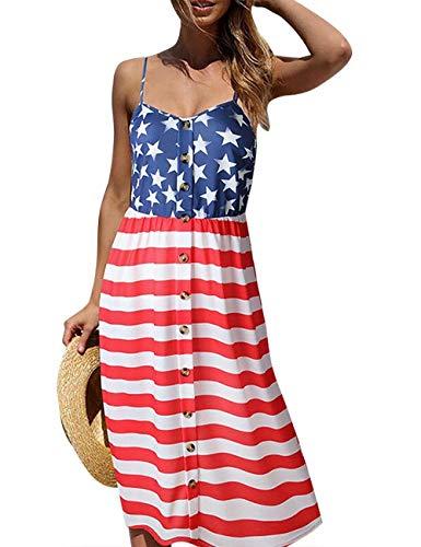 Women's American Flag Print July 4th Spaghetti Strap Sleeveless Button Down Casual Tank Midi Dress Size XL (US 8-10) (American Flag) ()