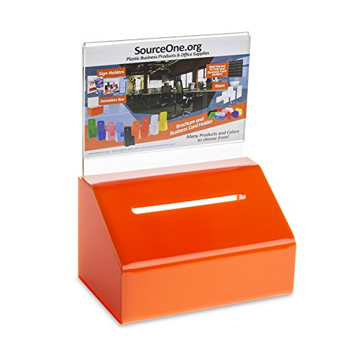 Source One Heavy Duty Small Donation/Ballot Box with Lock and Sign Holder 5 Inch Wide (1 Pack, Orange)