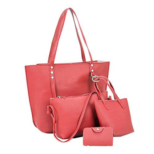 Bag Vintage Red Shoulder Handbag TOOPOOT Crossbody Leather Lady Women Wallet Bag Bag 4Pcs Shoulder AzwgqOEUx1