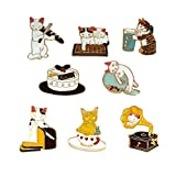 WINZIK Cartoon Lapel Brooch Set 8Pcs Novelty Cute Cat Kitten Pins Badges For Women Children Clothing Backpacks Decor (Set B)