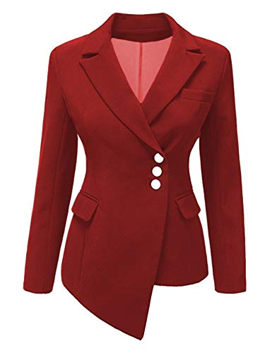 (SEBOWEL Women's Casual Work Blazer Slim Open Front Asymmetric Office Jacket Suit Red M)