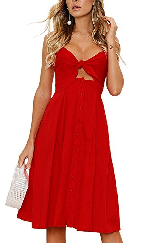 Womens Summer Dresses for Women Sexy Tie Front V-Neck Spaghetti Strap Button A-Line Sleeveless Backless Midi Dress (M, Red) (Dress Front Pattern)