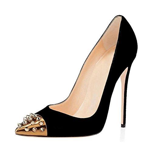 Mujer Estilete Alto Tacón Fiesta Remache Puntiagudo Dedo del pie Corte Zapatos Ante Zapatillas tamaño Black