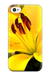 DaZJBTI2497aRakj Tpu Phone Case With Fashionable Look For Iphone 4/4s - Yellow Flowers