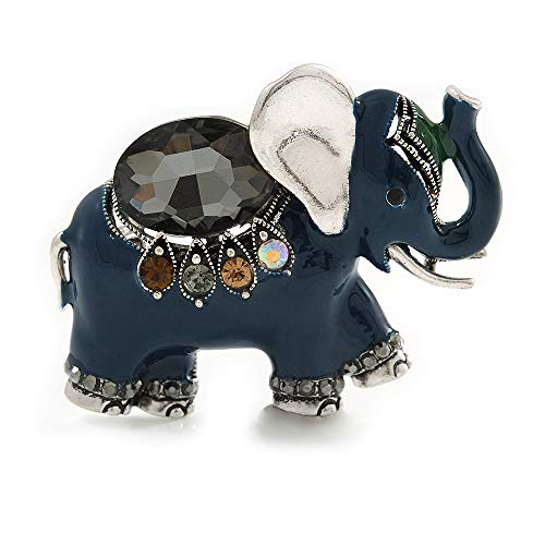 Avalaya Vintage Inspired Blue Enamel, Crystal Elephant Brooch in Aged Silver Tone - 50mm Across