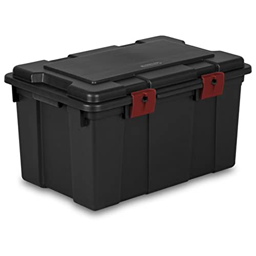 Charmant STERILITE 18419004 16 Gallon/61 Liter Storage Trunk, Black With Racer Red  Latches, 4 Pack