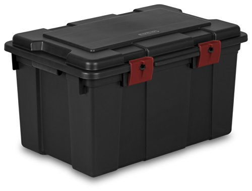 sterilite-18419004-16-gallon-61-liter-storage-trunk-black-with-racer-red-latches-4-pack