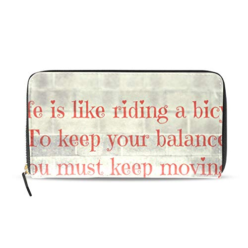 Womens Wallets Inspirational Quotes About Moving On-With Life Leather Passport Wallet Change Coin Purse Girls Handbags ()