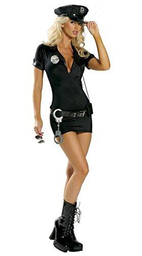 Mengjie Holloween Costume Policewoman Instructor Role Playing Uniform Temptation, Black, L -