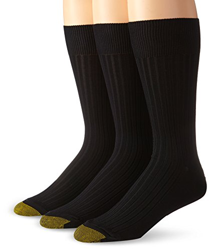 Gold Toe Men's Classic Canterbury Crew Socks (Pack of 3), Black, Shoe Size: ()
