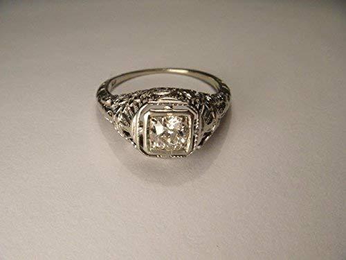 Antique Estate 14K White Gold Filigree Solitaire Diamond Engagement Ring