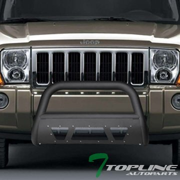 Topline Autopart Matte Black Studded Mesh Bull Bar Brush Push Front Bumper Grill Grille Guard With Skid Plate For 05-07 Jeep Grand Cherokee ; 06-10 Commander