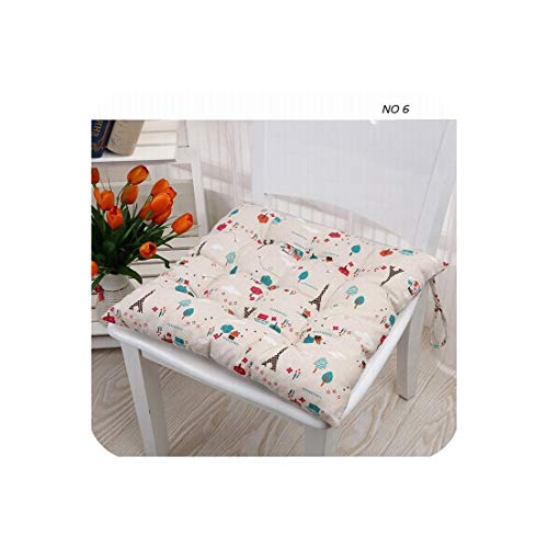 Pastoral Floral Cartoon Printed Modern Linen Bubble Pad Kitchen Office Chair Cushions Dining Floor Seat Cushion Mat 40x40cm,NO (6) ()