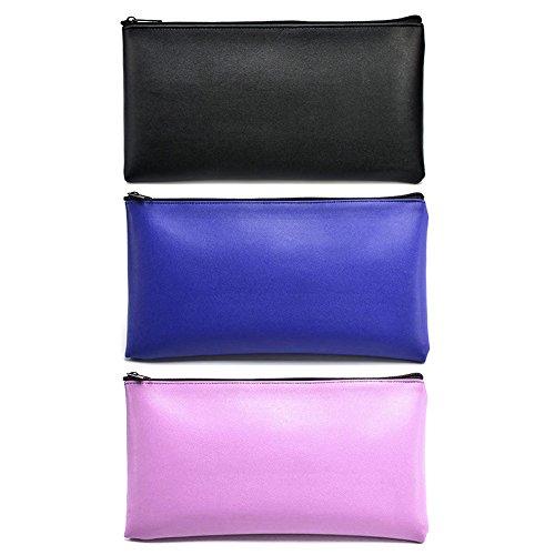 Leatherette Zipper (TUTBIER Leatherette Money Bank Deposit Bag Utility Zipper Coin Bag 11 X 6 Inches 3 Pack)