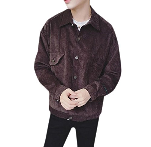 Beeatree Jacket Collar Coat Men's Tops Jackets Turn Outwear Buckle Down Coffee qxrrHtYA