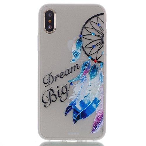 iPhone X Hülle , Leiai Big Dream Fluoreszenz TPU Transparent Weich Tasche Schutzhülle Silikon Handyhülle Stoßdämpfende Schale Fall Case Shell für Apple iPhone X