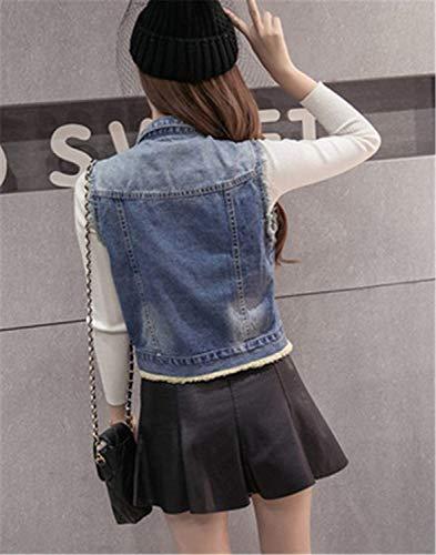 Smanicato Stlie Slim Fit Autunno Cavo Blu Jacket Primaverile Fashion Cappotto Corto Outerwear Gilet Strappato Jeans Grazioso Vintage Donna Bavero Eleganti FqO6EAA4wU
