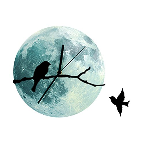 AENMIL 30cm Moon Moonlight Wall Clock with Bird on Branches, Glow in the Dark Home Wall Decal, Acrylic Wall Sticker Design for Living Room Bedroom Office - Battery Not Included