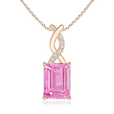 Angara Pink Sapphire Pendant with Diamond Entwined Bale nd2c5J1