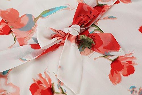 Rot de Zeagoo Blumen Fiesta Mujer Gasa sin X y Mangas Vestidos de para Cwwqaf