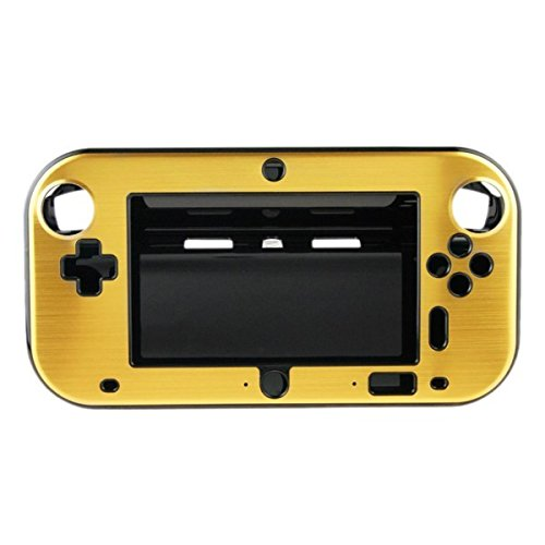 OSTENT Anti-shock Hard Aluminum Metal Box Cover Case Shell Compatible for Nintendo Wii U Gamepad Color Gold - Wii Golds