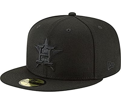 New Era 59Fifty Hat MLB Houston Astros Black On Black Fitted Cap 11591155