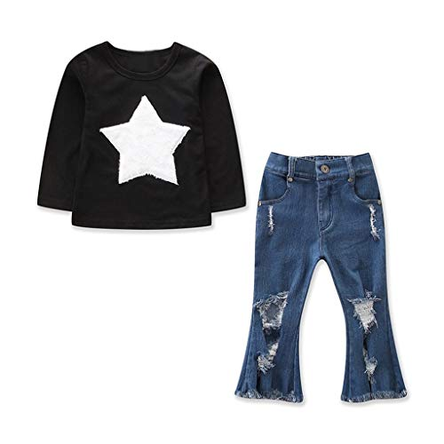 Qpika Children Kids 3PCS Long Sleeve Stars Print Tops+ Ripped Jeans Legging Set Outfits Black for $<!--$14.99-->