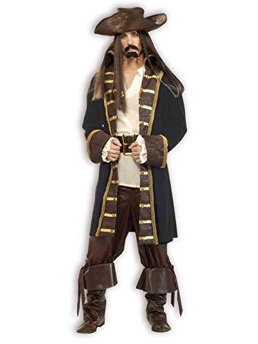 Forum Designer Deluxe High Seas Pirate Costume, Black/Brown, Large -
