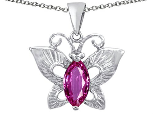 Star K Love Butterfly Pendant Necklace with Marquise Shape Created Pink Sapphire Sterling (Butterfly Pink Sapphire Pendant)