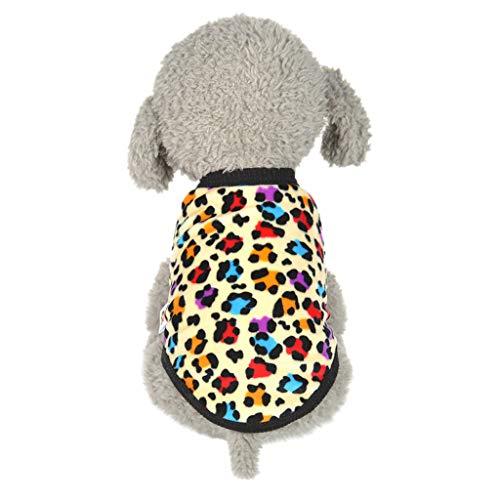 Tiny Mini Puppy Vest Leopard Print Winter Sweatshirt Pet Dog Clothes Soft Warm Sleeveless T-Shirt Pullover for Small Doggie Cat Apparel (Yellow, XXS)