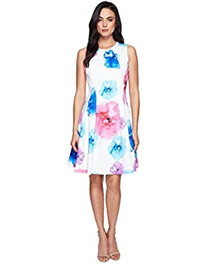 Womens Floral Fit & Flare Dress CD7M5V3Q