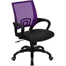 Mid-Back Mesh Computer Chair with Black Leather Seat Orange