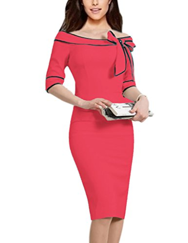 Women's 1950s Retro 3/4 Sleeve Bow Cocktail Party Evening Dress Work Pencil Dress (S, N-watermelon pink)