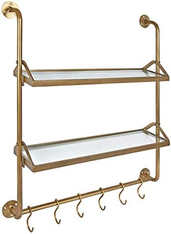 Kate and Laurel Modern Industrial Wall Shelf with Metal Pipe Supports and Glass Shelves, Gold