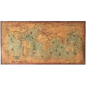 Amazon world map vintage style poster print posters prints chimage choose size the old navigation world map huge large vintage style retro paper poster home wall decoration gumiabroncs Images