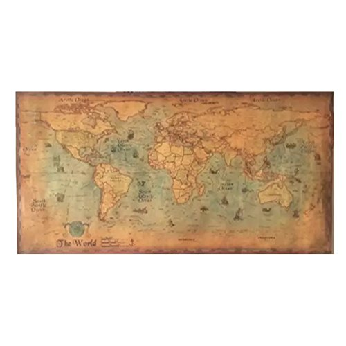 Old Map Poster World (CHIMAGE Choose size: The old navigation World Map huge large Vintage Style Retro Paper Poster Home wall decoration)