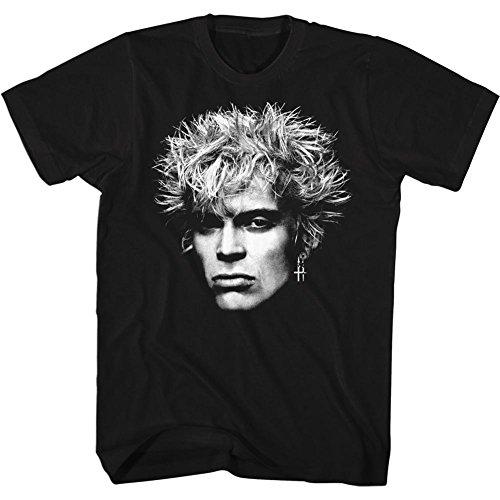 - Billy Idol 80's Punk Rock Singer Big Face Musician MTV Adult T-Shirt Tee Black