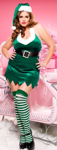 Night Elf Costume (Leg Avenue Women's Christmas Elf Set, Green/White, 3x-4x)