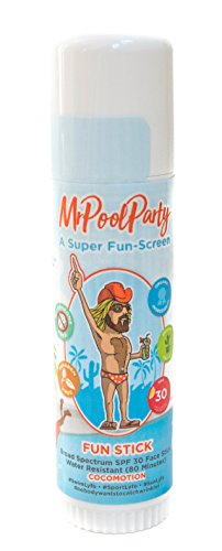 MrPoolParty Organic Mineral Sunscreen Stick, Coconut Face Sunscreen with Moisturizers, SPF 30, 0.6oz